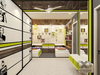 Kids Bedroom for Siblings - a boy and a girl: modern  by Space Polygon,Modern