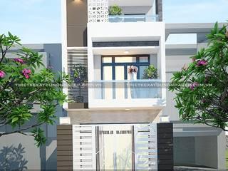 Mẫu nhà đẹp 3 tầng 5x12m đơn giản mà đẹp phù hợp với mọi gia đình bởi Công ty cổ phần tư vấn kiến trúc xây dựng Nam Long Hiện đại
