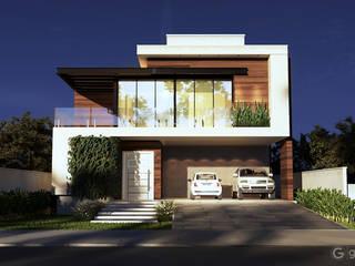 Projeto Casa Moderna DC - Fachada Moderna: Condomínios  por Gelker Ribeiro Arquitetura | Arquiteto Rio de Janeiro,Moderno