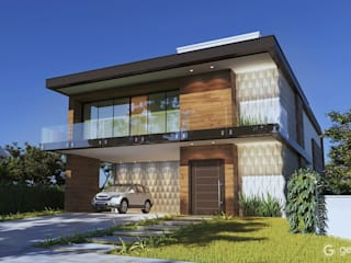 Projeto casa moderna - fachada moderna – Casa ET: Condomínios  por Gelker Ribeiro Arquitetura | Arquiteto Rio de Janeiro