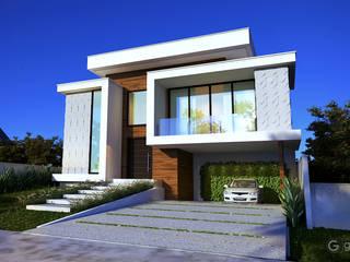 Casa moderna  – Projeto fachada moderna  - Casa GS: Condomínios  por Gelker Ribeiro Arquitetura | Arquiteto Rio de Janeiro