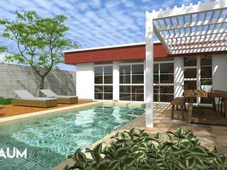 Fachada Frontal - Interior: Casas de campo de estilo  por RAUM Estudio