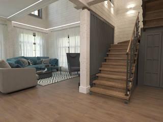 дом из клеенного бруса Коридор, прихожая и лестница в эклектичном стиле от Шамисова Анастасия Эклектичный