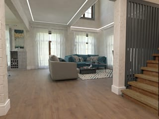дом из клеенного бруса Гостиные в эклектичном стиле от Шамисова Анастасия Эклектичный