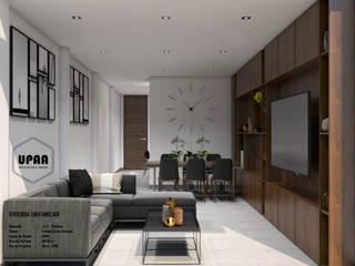 VIVIENDA UNIFAMILIAR CERNA CERCADO: Salas / recibidores de estilo  por UPAA ARQUITECTOS, Moderno