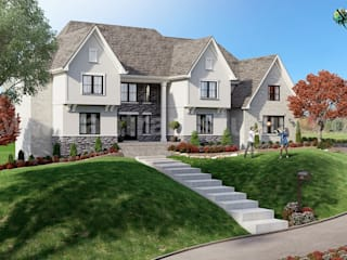 Exterior Architectural Rendering Service of Front House Landscaping Ideas by 3D Animation Studio, Amsterdam – Netherland Yantram Architectural Design Studio Modern