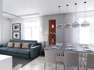 Квартира 76,8 кв. м в Москве Гостиная в стиле модерн от Андреевы.РФ Модерн