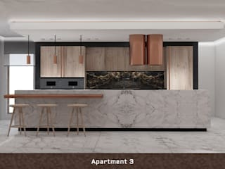 Apartment III Deev Design Moderne keukens Koper / Brons / Messing Wit