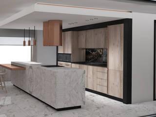 Apartment III Deev Design Moderne keukens Marmer Wit