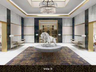 Villa 11 Deev Design Moderne gangen, hallen & trappenhuizen Zilver / Goud Wit