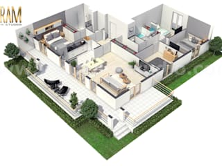 Modern House Floor Plan Designer with unique landscaping ideas by Yantram Architectural Studio, Milan – Italy Yantram Architectural Design Studio Modern