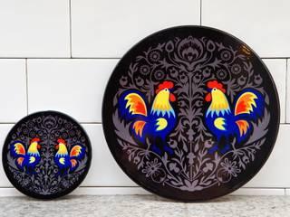 Ceramiczne podstawki pod garnek z ludowymi wzorami: styl , w kategorii  zaprojektowany przez kokofolk,