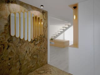Pasillos, vestíbulos y escaleras minimalistas de OBRA ATELIER - Arquitetura & Interiores Minimalista