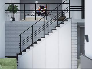 ЖК GREENWOOD . Лофт в в двух уровнях: Гостиная в . Автор – Студия дизайна ОККО