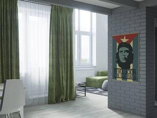 ЖК GREENWOOD Двухуровневая студия.: Гостиная в . Автор – Студия дизайна ОККО
