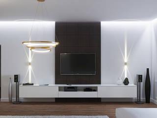 Стильная квартира для молодой семьи: Гостиная в . Автор – Студия дизайна ОККО
