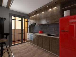 Дизайн проект кухни-гостиной в индустриальном стиле Кухня в стиле лофт от SOS-REMONT Лофт