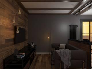 Дизайн проект кухни-гостиной в индустриальном стиле Гостиная в стиле лофт от SOS-REMONT Лофт