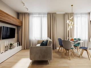 Salas de estilo minimalista de Студия архитектуры и дизайна Дарьи Ельниковой Minimalista
