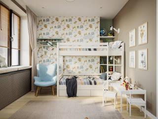 Квартира 60 кв.м. в современном стиле в ЖК Савёловский Сити. Детская комнатa в стиле минимализм от Студия архитектуры и дизайна Дарьи Ельниковой Минимализм