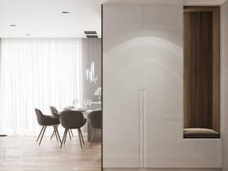 Miszkanie w Krakowie połączone z dwóch małych : styl , w kategorii Korytarz, przedpokój zaprojektowany przez LINEUP STUDIO