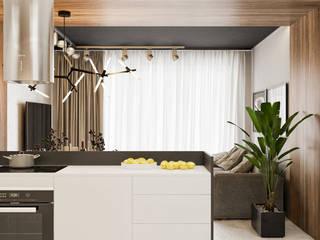 Dwópokojowe mieszkanie w Krakowie: styl , w kategorii Aneks kuchenny zaprojektowany przez LINEUP STUDIO