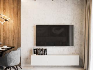 Dwópokojowe mieszkanie w Krakowie: styl , w kategorii Salon zaprojektowany przez LINEUP STUDIO