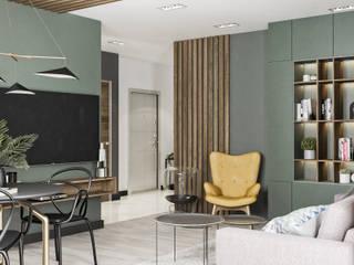 Projekt mieszkania w Krakowie: styl , w kategorii Salon zaprojektowany przez LINEUP STUDIO
