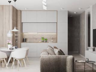 Projekt mieszkania w Warszawie Nowoczesny salon od LINEUP STUDIO Nowoczesny