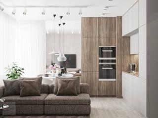 Projekt mieszkania w Warszawie Nowoczesna kuchnia od LINEUP STUDIO Nowoczesny