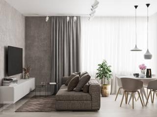 Projekt mieszkania w Warszawie: styl , w kategorii Salon zaprojektowany przez LINEUP STUDIO