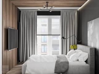 Mieszkanie z odcieniem loftu w Krakowie: styl , w kategorii Małe sypialnie zaprojektowany przez LINEUP STUDIO