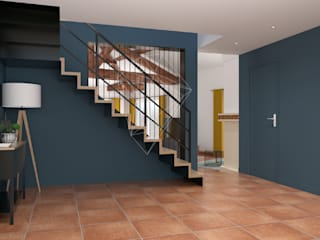 Réagencement d'un espace entrée/salon/salle à manger/cuisine Couloir, entrée, escaliers scandinaves par Julie LEFEVRE - Design d'Espace et Rendu 3D Scandinave