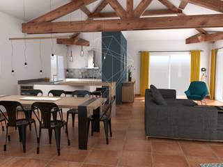 Réagencement d'un espace entrée/salon/salle à manger/cuisine Salle à manger scandinave par Julie LEFEVRE - Design d'Espace et Rendu 3D Scandinave