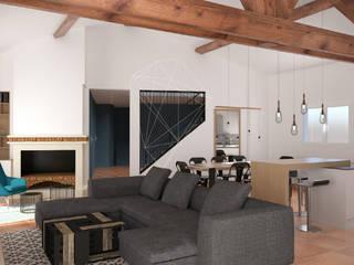 Réagencement d'un espace entrée/salon/salle à manger/cuisine Salon scandinave par Julie LEFEVRE - Design d'Espace et Rendu 3D Scandinave