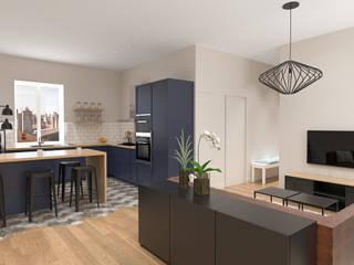 Rénovation d'un appartement Cuisine moderne par Julie LEFEVRE - Design d'Espace et Rendu 3D Moderne