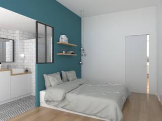 Rénovation d'un appartement Chambre moderne par Julie LEFEVRE - Design d'Espace et Rendu 3D Moderne