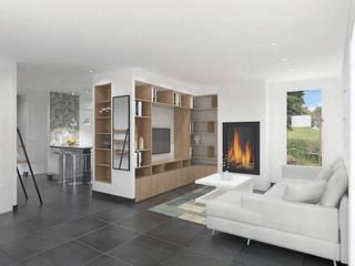 Aménagement d'un espace séjour/cuisine/salle à manger Salon moderne par Julie LEFEVRE - Design d'Espace et Rendu 3D Moderne