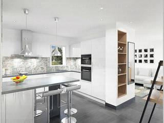 Aménagement d'un espace séjour/cuisine/salle à manger Cuisine moderne par Julie LEFEVRE - Design d'Espace et Rendu 3D Moderne