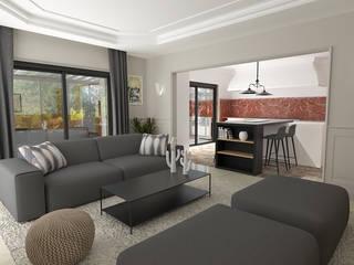 Décoration de plusieurs pièces de vie dans une maison Salon moderne par Julie LEFEVRE - Design d'Espace et Rendu 3D Moderne