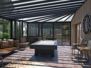 Décoration de plusieurs pièces de vie dans une maison Balcon, Veranda & Terrasse modernes par Julie LEFEVRE - Design d'Espace et Rendu 3D Moderne