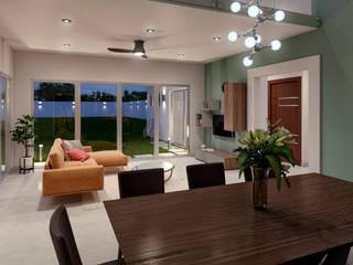 Casa GE Tlaxcala Salones modernos de Estévez Arquitectos Moderno