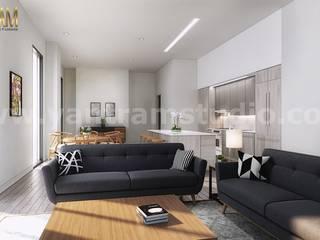 Open Concept Kitchen Living Room Interior Design Studio Developed By Yantram Architectural Visualisation studio, Doha – Qatar Modern Oturma Odası Yantram Architectural Design Studio Modern