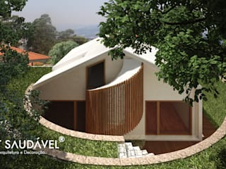 Casa da Fonte : Casas  por Habitat Saudável - consultoria, arquitetura e decoração,