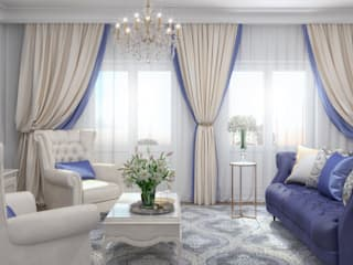 Гостиная с акцентами синего Гостиная в классическом стиле от Елена Алексеева Классический