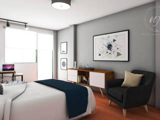 Industrial style bedroom by NF Diseño de Interiores Industrial