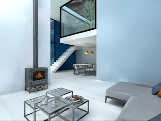 Dinges Design Modern living room Blue