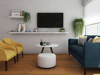 PROYECTO SALA Y COMEDOR - CHARIARSE- de NF Diseño de Interiores Escandinavo