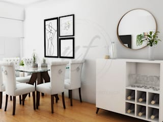 PROYECTO SALA Y COMEDOR - CHARIARSE- Salas modernas de NF Diseño de Interiores Moderno
