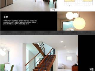 입체적인 전원주택 외관이 돋보이는 주택 모던스타일 거실 by 한글주택(주) 모던